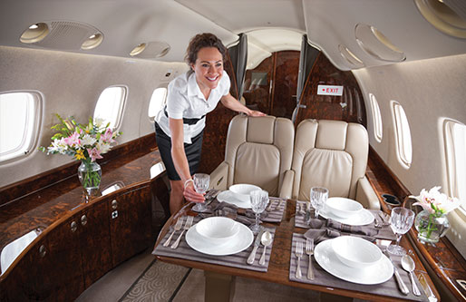 Table setting on airplane